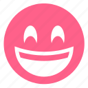 emoticon, face, happy, laughing, pink, smiley, smiling