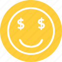 dollar, dollar smiley, happy, money smiley, rich emoticon icon