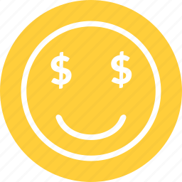 dollar, dollar smiley, happy, money smiley, rich emoticon icon