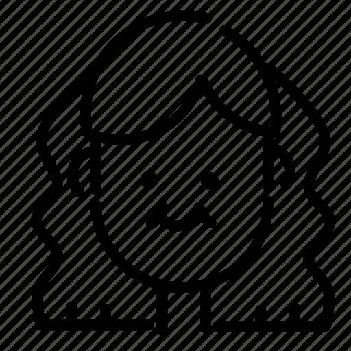 emoji, emoticon, face, girl, hairstyle, smile, woman icon
