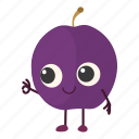 cut, plum, prune, whole icon