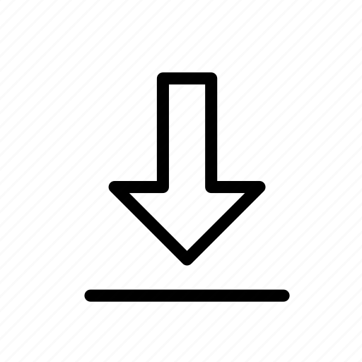 action, arrow, down, download, inport icon