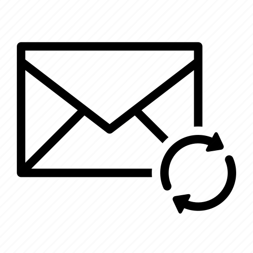arrow, email, envelope, send, sync icon