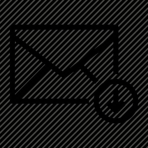 arrow, down, email, envelope, send icon