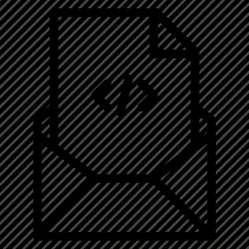 attachment, code, email, file, html, send, xml icon