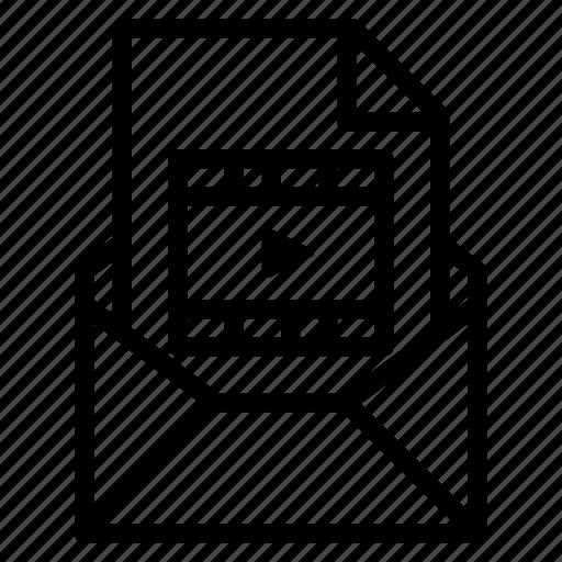 attachment, email, file, movie, send, video icon
