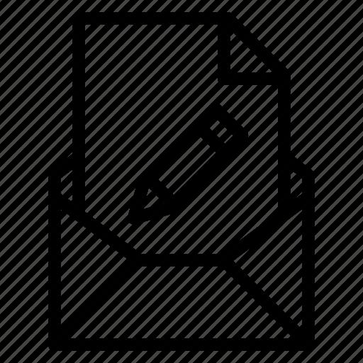 attachment, edit, email, file, pen, send, write icon