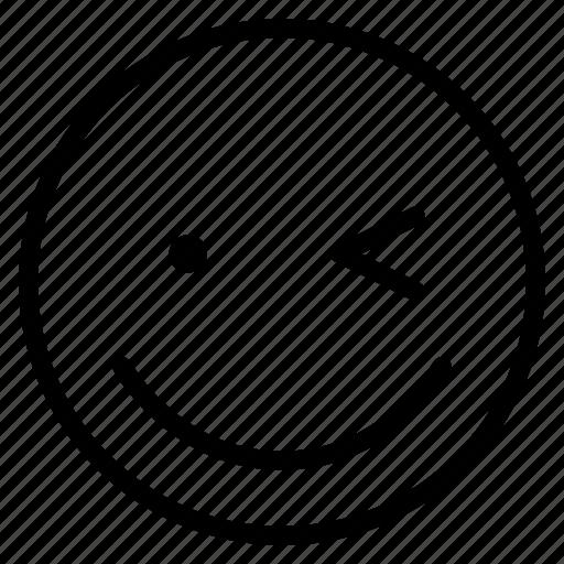 emoticon, emotion, expression, face, mood, smile, wink icon