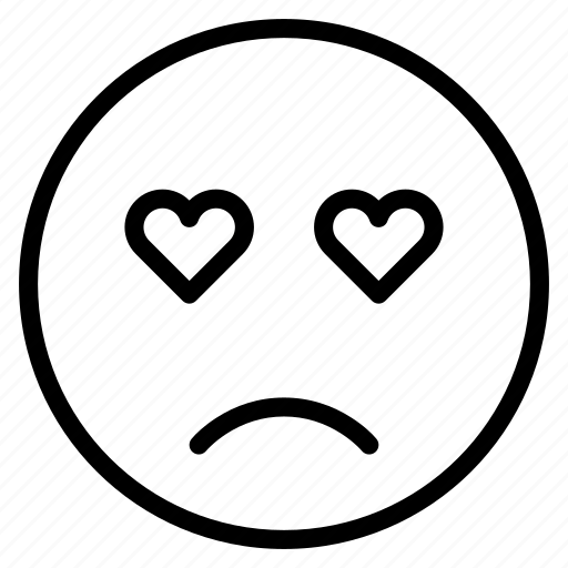 emoticon, emotion, expression, face, love, mood, sad icon