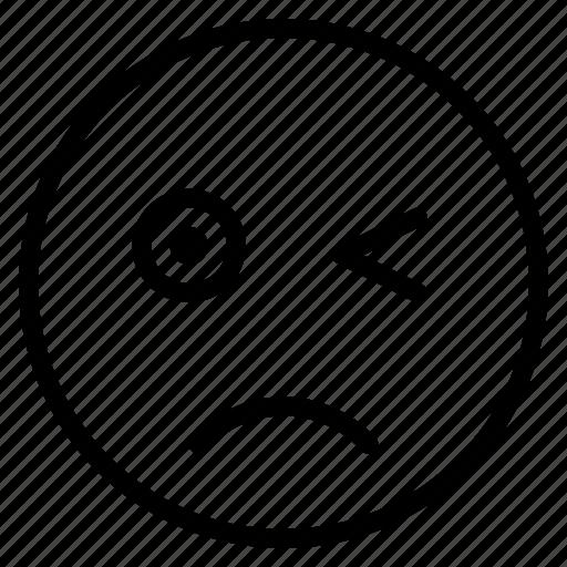 emoticon, emotion, expression, face, mood, sad, wink icon