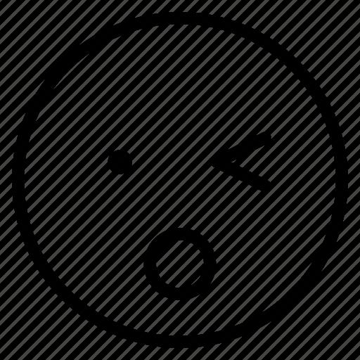 emoticon, emotion, expression, face, mood, surprised, wink icon