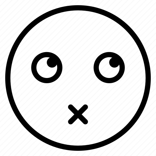 emoticon, emotion, expression, face, lips, mood, sealed icon