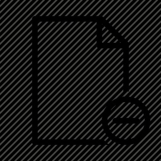 delete, document, file, minus, remove, text, txt icon