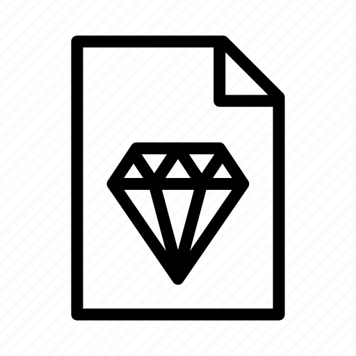 diamond, document, file, format, paper, sketch icon