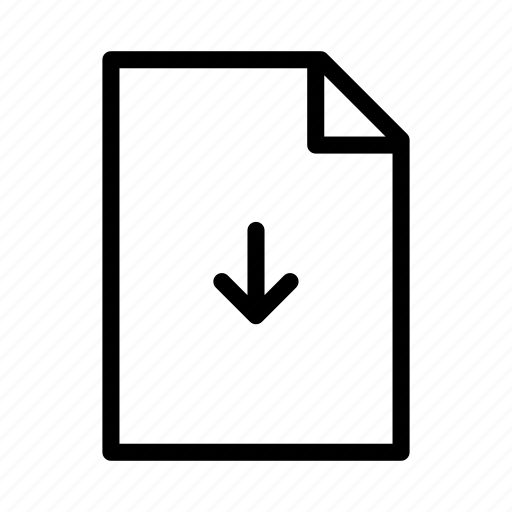 arrow, document, download, file, paper, text icon