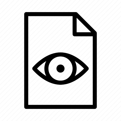 document, eye, file, paper, readonly, text, view icon