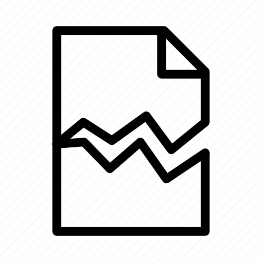 broken, damaged, document, file, paper, text icon