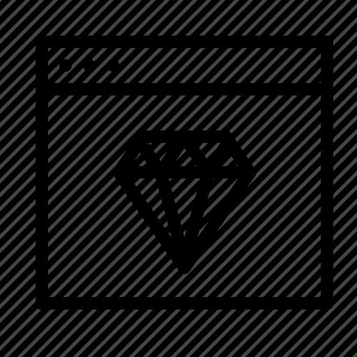 application, design, diamond, interface, sketch, window icon