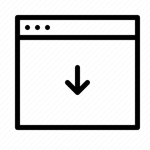 application, arrow, down, interface, window icon