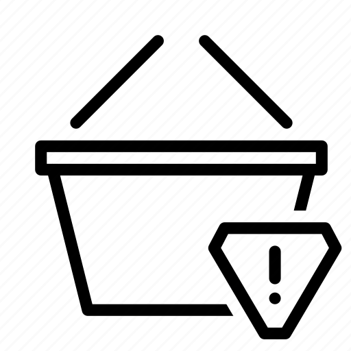 alert, basket, buy, shop, shopping, warning icon