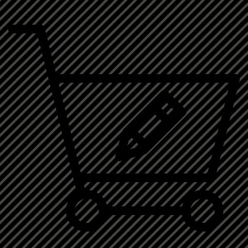 buy, cart, edit, pen, shopping, trolley icon