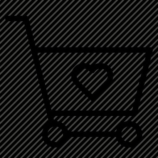 buy, cart, favrite, heart, shopping, trolley icon
