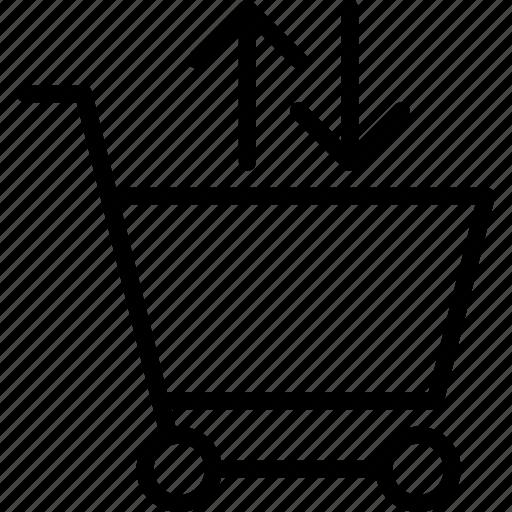 arrow, buy, cart, fetch, shopping, trolley icon