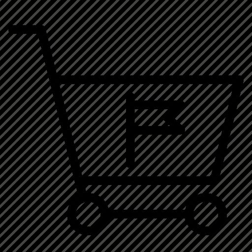 buy, cart, flag, mark, shopping, trolley icon