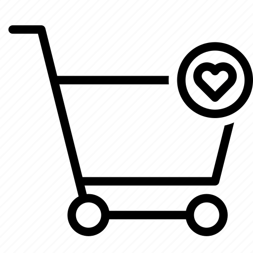 buy, cart, favorite, heart, shopping, trolley icon