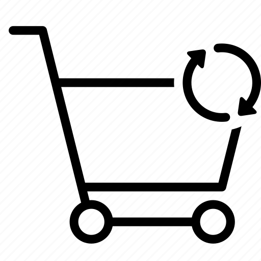 buy, cart, shopping, sync, trolley icon