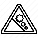 rockfall, alert, sign, signaling, attention, warning icon