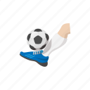 activity, ball, cartoon, foot, kick, sign, soccer icon