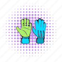 comics, glove, halftone, hand, protective, purple, soccer icon