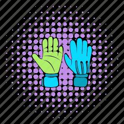 comics, glove, halftone, hand, protective, purple, soccer icon