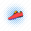 boot, comics, football, halftone, shoe, soccer, sport icon