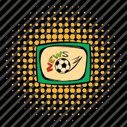 comics, design, football, halftone, monitor, news, tv icon