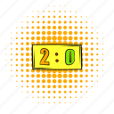 comics, design, halftone, orange, score, scoreboard, two icon