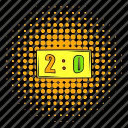 comics, design, halftone, orange, score, scoreboard, two icon