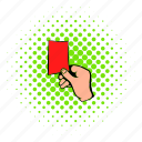 card, comics, halftone, raised, red, soccer, sport icon