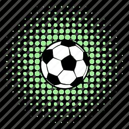 ball, comics, football, halftone, play, soccer, sport icon