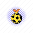 comics, football, gold, halftone, medal, purple, soccer icon