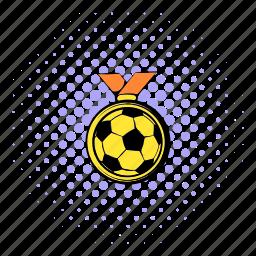 comics, football, gold, halftone, medal, purple, soccer icon