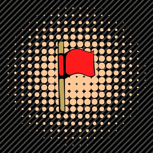 comics, flag, halftone, orange, red, soccer, sport icon