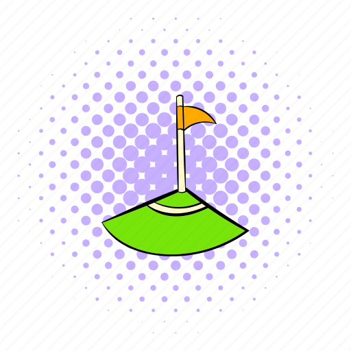 comics, corner, flag, halftone, orange, purple, soccer icon