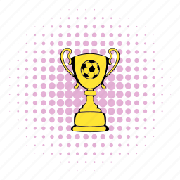 comics, cup, golden, halftone, purple, soccer, trophy icon