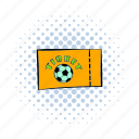 ball, comics, football, halftone, orange, soccer, ticket icon