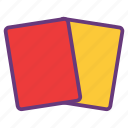 attention, cards, caution, game, red, warning, yellow icon