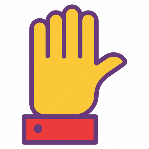 attention, caution, hand, sign, signal, stop, wave icon