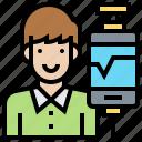 addict, customer, phone, technology, user icon