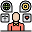application, communication, implementation, skills icon